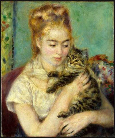Woman With a Cat c.1875 Renoir